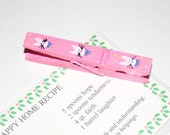 Hand Painted Easter Bunny Clothes Pin Recipe Note Card Holder Chip Clip