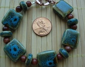 Blue and Green Ceramic with Goldstone Bracelet