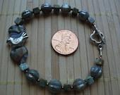 Rainforest jasper (rhyolite), czech glass, hill tribe silver toggle clasp