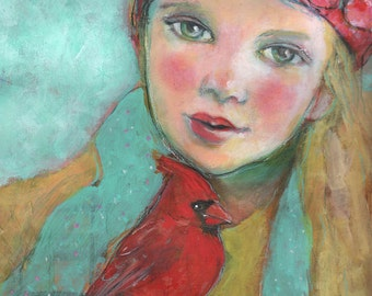 "The Cardinal's Song- 9""x12"" Fine Art Reproduction Block by Maria Pace-Wynters"