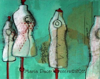 "Dress Dummies- 12""x16"" Fine Art Reproduction Block by Maria Pace-Wynters"