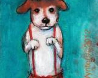 Circus Dogs - Fine Art Reproduction On Wood by Maria Pace-Wynters