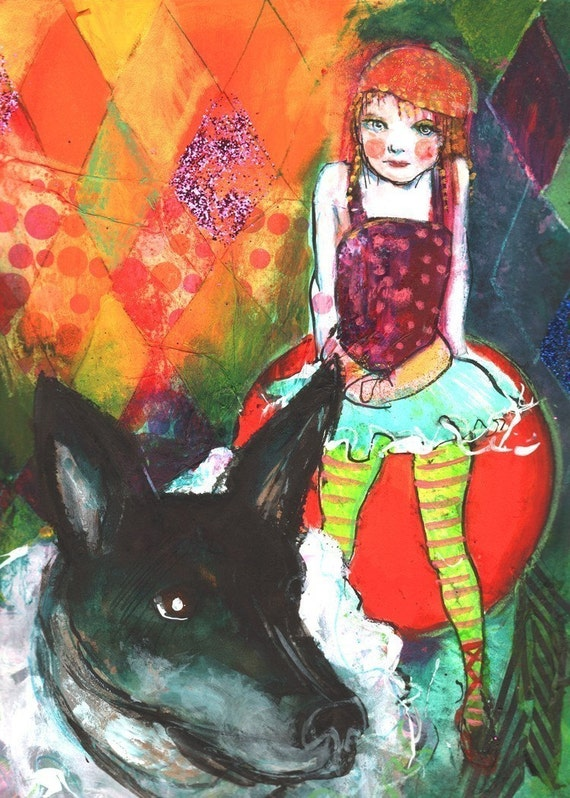 Limited Edition ACEO art reproduction - Circus  Dog and Girl12/50