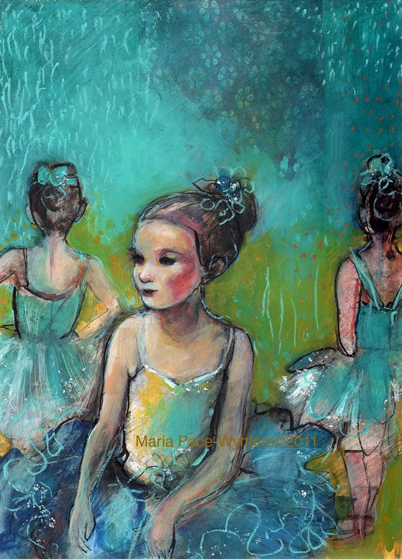 Three Ballerinas-ACEO  Open edition reproduction by Maria Pace-Wynters