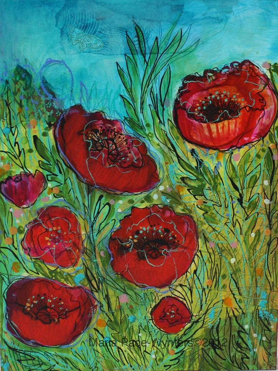 Poppy Garden 2- Original mixed media painting by Maria Pace-Wynters
