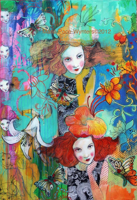 Reserved recurring dream mixed media painting by Maria pace-wynters