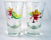 Chili Pepper Shot Glasses - hand painted shot glass - Feelin a little loco painted glass