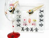 Sushi Wine Glass Set - Sushi Tray - painted glass - Combo wine glass and square glass tray set