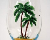 Palm Tree Wine Glass - Beach Wine Glass - painted glass