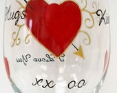 I Love You Wine Glass -Hand Painted Wine Glass - Falling in Love Wine Glass