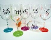 Hand Painted Wine Glasses- custom wine glass - Wedding glass - handpainted glassware