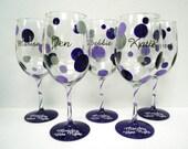 POLKA DOT Wine Glass - wedding glass -  one personalized wine glass -custom hand painted Bridal gift