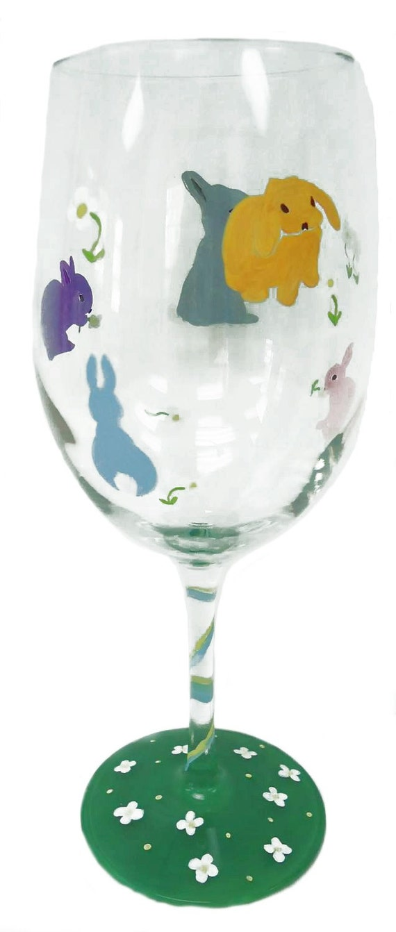 bunny wine glass rabbits glass hand painted glass. Black Bedroom Furniture Sets. Home Design Ideas