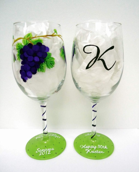 Items similar to grapes wine glass one painted wine for Painted wine glasses with initials