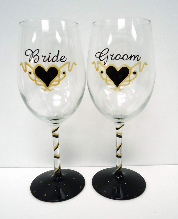 Wedding Personalised Wine Glasses : Personalized Wedding Wine Glassesbride and groom wine glasshand ...