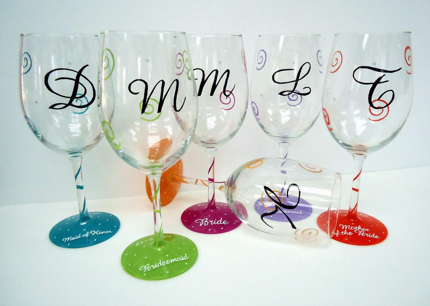 Hand painted wine glasses custom wine glass by for Hand designed wine glasses