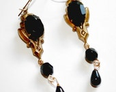 Vintage Czech Black Glass Drop Art Deco Brass Ox Earrings