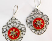 Stunning Silver Ox Filigree with Antique Red Enamel White Rhinestone Circles Earring