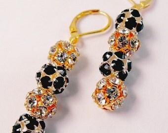 Black and White Classic Rhinestone Ball Earrings