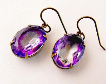18x13mm Brass Ox Setting Open Back Purple Lavender Clear Faceted Oval Vintaj Ear Wires Earrings