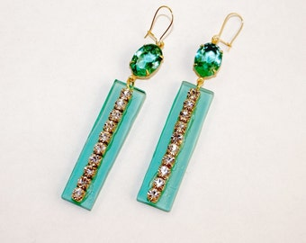 Chrystolite Green Rhinestone Earrings