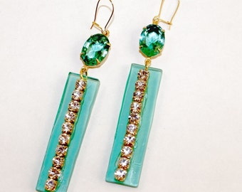 Chrystolite Green Rhinestone Earrings