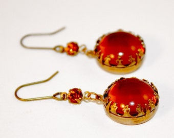 Round Topaz Princess Crown Earrings