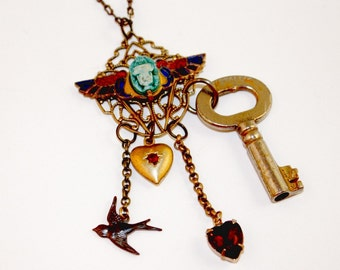 Scarab Enamel Wings Charms Necklace