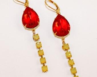 Hyacinth Orange Pear Teardrop Yellow Opal Rhinestone Drops Earrings