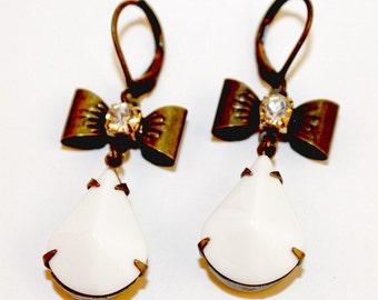 Brass Ox Rhinestone Bow White Teardrop Earrings