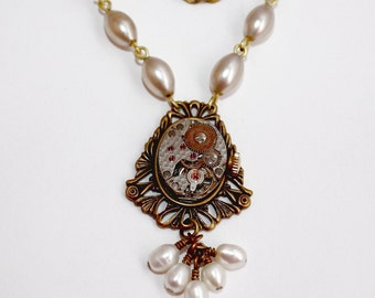 Beautiful Pearl Brass Ox Steampunk Necklace