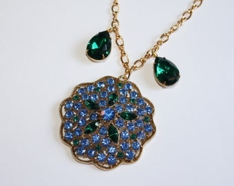 Beautiful Blue Vintage Green Brooch Converted to Necklace