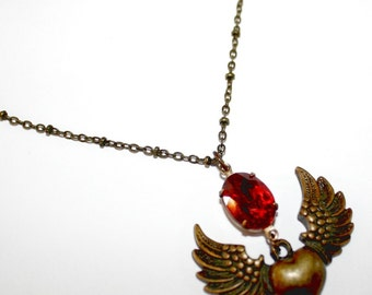 Heart Angel Brass Ox Wings with 12x10 Oval Red Ruby Glass Stone Brass Ox Hand Beaded Chain 18
