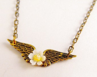 Buy One Get one Free Angel Wings White Flower Daisy Brass Ox Necklace