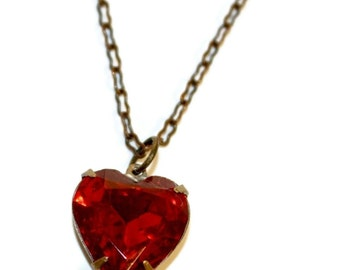 Beautiful Red Glass Heart Necklace