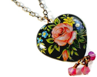 Tensha Black Pink Rose Heart with Swarovski 3mm wrapped beads Dangle Necklace