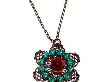 Stunning Large Blue Zircon Vintage Rhinestone Circle Red Rose Vintage Filigree Necklace
