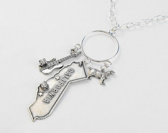 California Rock and Roll Guitar Dog Charms Rhinestone Necklace
