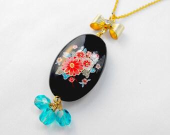 Black Oval Pink Roses Aqua Leaves Tensha Gold Bow Rhinestone 3 Swarovski Rounds Necklace