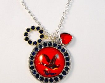 Red Blue Rhinestone Duck Round Sapphire Stones Red Silver Heart Charm Necklace