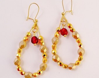 Gold Beaded Faceted Dangle Hoops