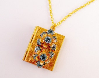 Gold Locket Book with Antique Blue Rhinestones Flowers Necklace