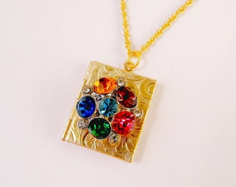 Gorgeous Vintage 6 Jewel Pin Book Locket Necklace