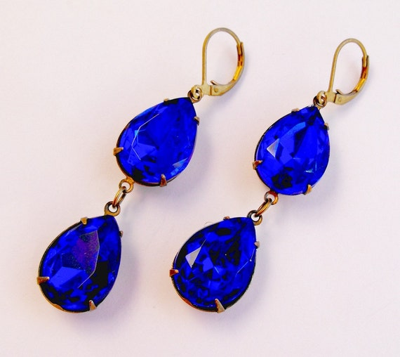 Beautiful Sapphire Blue 2 Double Teardrop Pear Shaped Hollywood Glamour Glass Faceted Drop Earrings
