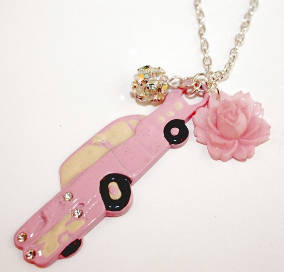 Fun Girlie Pink Cadillac Bling Rhinestone Lights Pink Rose Disco Ball Necklace