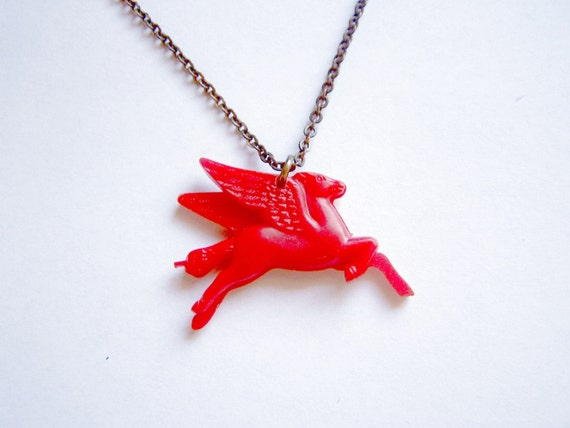Magical Mystical Red Pegasus Flying Horse 1930s Charm Necklace
