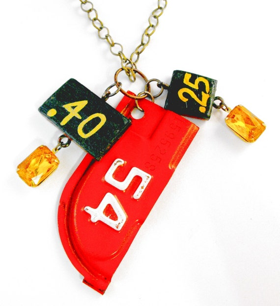 Red 54 40 cent 25 cent Artifacts Junk Funk Gothic Grunge Industrial Retro Topaz Jewel Necklace
