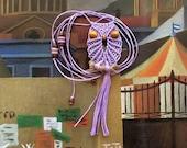 Lavender Owl  Necklace