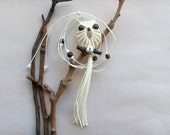 Macrame Owl Necklace - White