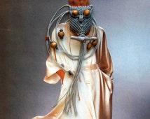 Macrame Owl Necklace - Silver Gray Owl - Long Necklace - Macrame Jewelry